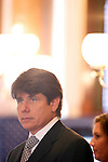 The week after the Illinois House voted to impeach him, Gov. Rod Blagojevich led the Senate inauguration ceremony at the Illinois State Capitol in Springfield, Ill., January 14, 2009..Kristen Schmid Schurter