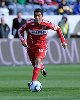 Chicago Fire forward Orr Barouch (15) dribbles toward the goal.  The Chicago Fire defeated Sporting KC 3-2 at Toyota Park in Bridgeview, IL on March 27, 2011.