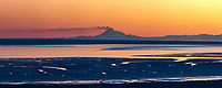 Plume of gas and vapor vent from the summit of Mt. Redoubt volcano, Chigmit mountains, Aleutian range, as viewed across the Cook Inlet, southcentral, Alaska.