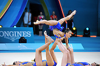 August 31, 2013 - Kiev, Ukraine -  USA RHYTHMIC GROUP performs with clubs at 2013 World Championships.