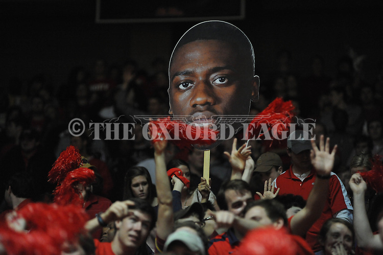 Ole Miss fans cheer vs. Missouri at the C.M. &quot;Tad&quot; Smith Coliseum on Saturday, January 12, 2013. Ole Miss defeated #10 ranked Missouri 64-49.