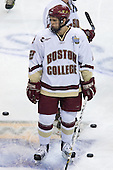 Dan Bertram (Boston College - Calgary, AB) takes part in warmups. The Michigan State Spartans defeated the Boston College Eagles 3-1 (EN) to win the national championship in the final game of the 2007 Frozen Four at the Scottrade Center in St. Louis, Missouri on Saturday, April 7, 2007.