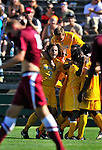 18 September 2011: The University of Vermont Catamount s celebrate a win over the Harvard University Crimson at Centennial Field in Burlington, Vermont. The Catamounts shut out the visiting Crimson 1-0, earning their 3rd straight victory of the 2011 season. Mandatory Credit: Ed Wolfstein Photo