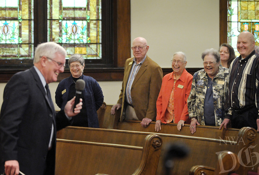 NWA Democrat-Gazette/BEN GOFF @NWABENGOFF<br /> The Rev. David Bentley, lead pastor, (from left) cracks up the congregation, including his wife Sally Bentley, Sam Samuelson and wife Rubye Samuelson, Lora Lea Wurzlow and Phil Rittgers, on Sunday March 13, 2016 during the Laughter Sunday service at First United Methodist Church in Rogers.