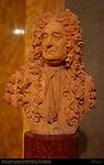 Portrait Bust of Sir Hans Sloane, Founder of the British Museum, 18th c. Terracotta by John Michael Rijsbrack, King's Library, British Museum, London, England, UK