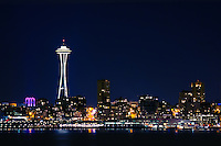 Downtown Seattle with the Space Needle on a cold clear night.