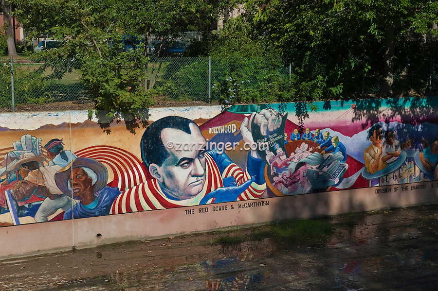 """""""The Red Scare"""" """"McCarthyism"""" """"Development of Suberbia"""",, Great Wall, Mural, Valley Glen, Los Angeles, CA, San Fernando, Valley, Tujunga Wash, sub watershed, California"""