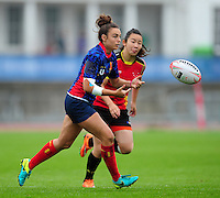 Raquel Garcia Godin of Spain passes the ball. FISU World University Championship Rugby Sevens Women's 7th/8th place match between Spain and PR China on July 9, 2016 at the Swansea University International Sports Village in Swansea, Wales. Photo by: Patrick Khachfe / Onside Images