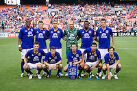 Everton lines up before their friendly match held at RFK Stadium in Washington, DC.  D.C. United lost to Everton, 3-1.