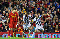 LIVERPOOL, ENGLAND - Thursday, October 4, 2012: Udinese Calcio's Maurizio Domizzi celebrates scoring the second goal against Liverpool during the UEFA Europa League Group A match at Anfield. (Pic by David Rawcliffe/Propaganda)