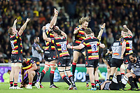 Players of Gloucester jubilate at the end of the match after defeating La Rochelle during the European Challenge Cup semi final between La Rochelle and Gloucester on April 22, 2017 in La Rochelle, France. (Photo by Vincent Michel/Icon Sport)