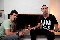 Switzerland. Canton Ticino. Losone. At home. The brothers Ivan and Gabriel Broggini of the band Sinplus will represent Switzerland with their song Unbreakable at the Eurovision Song Contest 2012 in Baku. Gabriel Broggini (L) is the singer and his brother Ivan (R) plays the guitar. 11.12.2011 © 2011 Didier Ruef