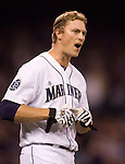 Seattle Mariners  Michael Saunders reacts to getting struck looking in the Oakland Athletics in the seventh inning at SAFECO Field in Seattle April 13, 2012.  Saunders also struck out with bases loaded in the fourth inning.    © 2012. Jim Bryant Photo. All Rights Reserved.  .