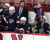 Michael Pastujov (NTDP - 21), Greg Moore, Sean Dhooghe (NTDP - 24), Jason Hodges, Graham Slaggert (NTDP - 19) - The Harvard University Crimson defeated the US National Team Development Program's Under-18 team 5-2 on Saturday, October 8, 2016, at the Bright-Landry Hockey Center in Boston, Massachusetts.