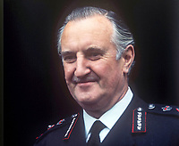 Sir Arthur Young, Commissioner of the City of London Police, who was seconded in 1969 to the RUC, Royal Ulster Constabulary, to implement the Hunt Report, which introduced the standard British rank system for police officers in Northern Ireland. Young had the distinction of being the RUC's last Inspector-General and its first Chief Constable. November 1969. 196911000258b<br /> <br /> Copyright Image from Victor Patterson, 54 Dorchester Park, Belfast, UK, BT9 6RJ<br /> <br /> t1: +44 28 9066 1296<br /> t2: +44 28 9002 2446<br /> m: +44 7802 353836<br /> <br /> e1: victorpatterson@me.com<br /> e2: victorpatterson@gmail.com<br /> <br /> IMPORTANT: My Terms and Conditions of Business are at www.victorpatterson.com
