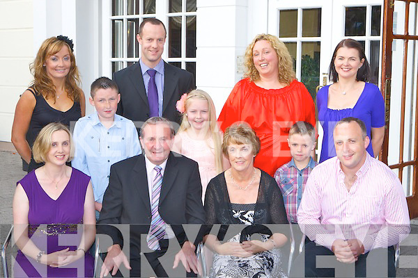 Derry Crowley who celebrated his retirement in the Killarney Avenue Hotel on Friday night with his family front row l-r: Mairead Newman, Eileen, Derry and John Crowley. Back row: Katriona, Kian, Daniel, Caoimhe, Maire, Luke and Helen Crowley..