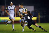 Ollie Devoto of Bath Rugby goes on the attack. Aviva Premiership match, between Newcastle Falcons and Bath Rugby on January 2, 2016 at Kingston Park in Newcastle upon Tyne, England. Photo by: Patrick Khachfe / Onside Images