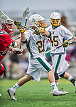 18 April 2015:  University of Vermont Catamount Attacker Michael Clarke, a Sophomore from Rumson, NJ, winds up to score against the University of Hartford Hawks at Virtue Field in Burlington, Vermont. The Cats defeated the Hawks 14-11 in the final home game of the 2015 season. Mandatory Credit: Ed Wolfstein Photo *** RAW (NEF) Image File Available ***