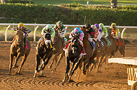 ARCADIA, CA  MARCH 11:#1 Midnight Storm, ridden by Rafael Bejarano, in the lead, with eventual winner #3 Shaman Ghost, ridden by Javier Castellano, stalking him, going into the stretch of the Santa Anita Handicap (Grade l),on March 11, 2017 at Santa Anita Park in Arcadia, CA (Photo by Casey Phillips/Eclipse Sportswire/Getty Images)