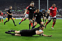Ben Smith of New Zealand scores a try in the first half. Rugby World Cup Pool C match between New Zealand and Tonga on October 9, 2015 at St James' Park in Newcastle, England. Photo by: Patrick Khachfe / Onside Images