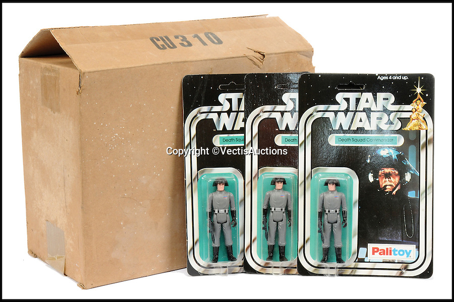 BNPS.co.uk (01202 558833)<br /> Pic: Vectis/BNPS<br /> <br /> Palitoy Star Wars trade box, twenty four Death Squad Commander 3 3/4&quot; vintage figures, case fresh &pound;11,400.<br /> <br /> A tiny plastic rocket from a Star Wars action figure has sold for almost &pound;2,000 as part of a huge &pound;160,000 sale of rare toys relating to the film franchise.<br /> <br /> The red missile measures just 28mm long and was attached to the back of a prototype figure of bounty hunter Boba Fett.<br /> <br /> A complete prototype Boba Fett can sell for &pound;13,000 but thanks to a letter of authentication and grading by the Action Figure Authority (AFA), the small rocket made &pound;1,920 by itself at auction.<br /> <br /> It was one of almost 700 Star Wars lots that sold for &pound;160,000, with many toys that originally sold for &pound;1.50 achieving four-figure sums.<br /> <br /> With the release of Star Wars:The Force Awakens imminent, interest in memorabilia from the franchise has never been higher.