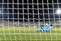 Orlando, FL - Saturday Jan. 21, 2017: São Paulo goalkeeper Sidão (12) makes a save during the penalty kick shootout of the Florida Cup Championship match between São Paulo and Corinthians at Bright House Networks Stadium. The game ended 0-0 in regulation with São Paulo defeating Corinthians 4-3 on penalty kicks.