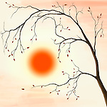 Illustration of a cherry tree with falling leaves in autumn sunset scenery against a red sun