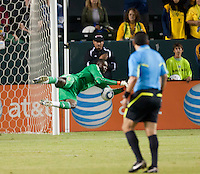 LA Galaxy goalie Donovan Ricketts (1) dives to block a shot on goal during the first half of the game between LA Galaxy and the D.C. United at the Home Depot Center in Carson, CA, on September 18, 2010. LA Galaxy 2, D.C. United 1.