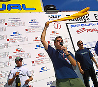 Rip Curl founder Doug Claw Warbrick (AUS) with Simon Anderson (AUS) and Mick Fanning (AUS) won the 2001 Rip Curl Pro at Bells Beach, Victoria, Australia. Fanning was a sponsors wildcard and stormed the field, defeating Danny Wills (AUS) in the finals. Photo: joliphotos.com