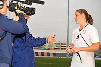 Cat Whitehill discusses the game with media following the USA's victory over Norway.  The USA defeated Norway 2-1 at Olhao Stadium on February 26, 2010 at the Algarve Cup.