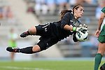 30 September 2012: Miami's Emily Lillard makes a save. The University of North Carolina Tar Heels defeated the University of Miami Hurricanes 6-1 at Fetzer Field in Chapel Hill, North Carolina in a 2012 NCAA Division I Women's Soccer game.