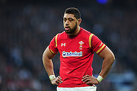 Taulupe Faletau of Wales looks on during a break in play. RBS Six Nations match between England and Wales on March 12, 2016 at Twickenham Stadium in London, England. Photo by: Patrick Khachfe / Onside Images