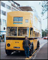 BNPS.co.uk (01202 558833)<br /> Pic: KeithBurbidge/BNPS<br /> <br /> Keith Burbidge in the 1970s.<br /> <br /> Dinky decker...<br /> <br /> A retired bus driver has taken his passion for buses to the next level - by transforming a broken mobility scooter into a quirky mini yellow bus.<br /> <br /> Keith Burbidge, 75, retired as a coach driver last year but missed the mode of public transport so much he decided to make his own miniature version.<br /> <br /> The father-of-two spent just &pound;40 and six months turning a broken scooter he picked up at auction into a working scale-model of a Yellow Bus, the company that operates in his hometown of Bournemouth, Dorset.<br /> <br /> The one-of-a-kind motor is 4ft tall and 6ft long and can only travel at speeds of about 5mph.