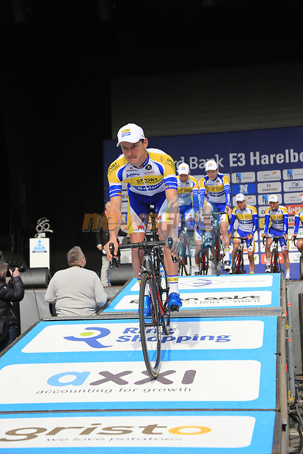 Sport Vlaanderen-Baloise team presented to the crowd before the start of the 60th edition of the Record Bank E3 Harelbeke 2017, Flanders, Belgium. 24th March 2017.<br /> Picture: Eoin Clarke | Cyclefile<br /> <br /> <br /> All photos usage must carry mandatory copyright credit (&copy; Cyclefile | Eoin Clarke)