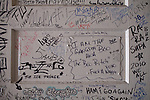 Rappers who visit and record in The Trap House, a recording studio in Memphis, Tennessee, sign an upstairs wall, seen October 14, 2011. .