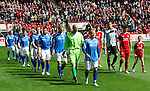 Aberdeen v St Johnstone... 23.07.11   SPL Week 1.Jody Morris and Richie Foster lead out their teams for the start of the new season.Picture by Graeme Hart..Copyright Perthshire Picture Agency.Tel: 01738 623350  Mobile: 07990 594431