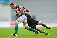 David Aspil of Ireland U20 is tackled. World Rugby U20 Championship match between New Zealand U20 and Ireland U20 on June 11, 2016 at the Manchester City Academy Stadium in Manchester, England. Photo by: Patrick Khachfe / Onside Images