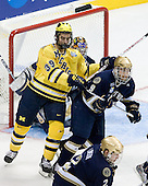 Max Pacioretty (Michigan - 39), Ryan Thang (Notre Dame - 9) - The University of Notre Dame Fighting Irish defeated the University of Michigan Wolverines 5-4 in overtime in their 2008 Frozen Four Semi-Final matchup on Thursday, April 10, 2008, at the Pepsi Center in Denver.