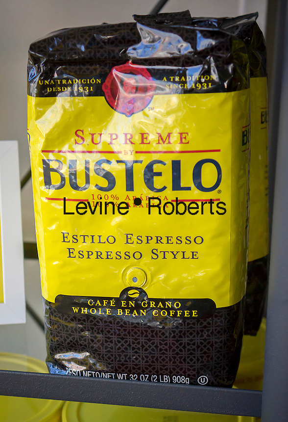 A bag of Cafe Bustelo coffee on display at the Cafe Bustelo pop-up store on the Lower East Side of New York on Friday, October 17, 2014.  (© Richard B. Levine)