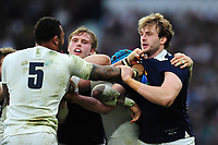 Jonny Gray of Scotland gets to know Courtney Lawes of England. RBS Six Nations match between England and Scotland on March 11, 2017 at Twickenham Stadium in London, England. Photo by: Patrick Khachfe / Onside Images