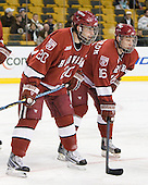 Louis Leblanc (Harvard - 20), Alex Fallstrom (Harvard - 16) - The Northeastern University Huskies defeated the Harvard University Crimson 4-1 (EN) on Monday, February 8, 2010, at the TD Garden in Boston, Massachusetts, in the 2010 Beanpot consolation game.