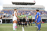 06 September 2015: Referee Chris Penso performs the coin toss in front of the team captains. The Duke University Blue Devils hosted the University of California Bears at Koskinen Stadium in Durham, NC in a 2015 NCAA Division I Women's Soccer match. California won the game 3-1.