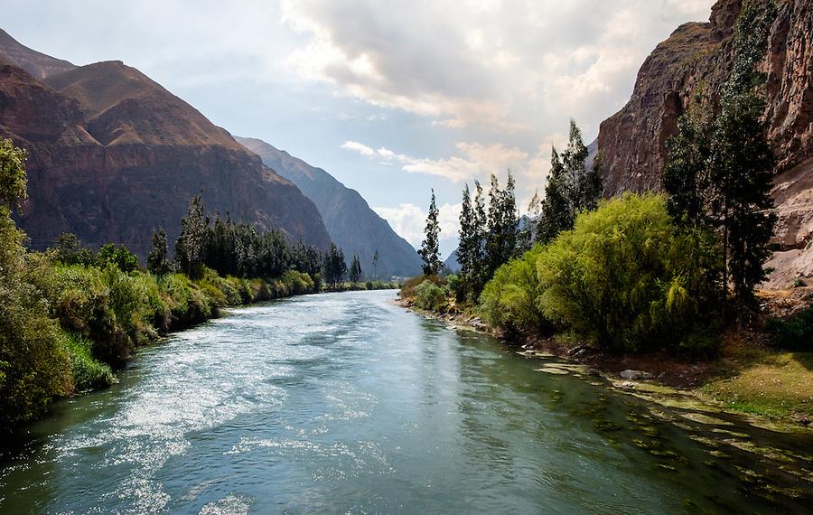 URUBAMBA PROVINCE, CUSCO,  PERU - CIRCA OCTOBER 2015:  The Urubamba River in the Cusco region known as Sacred Valley in Peru.
