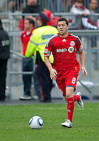 22 May 2010: Toronto FC defender Dan Gargan #8 in action during a game between the New England Revolution and Toronto FC at BMO Field in Toronto..Toronto FC won 1-0.....