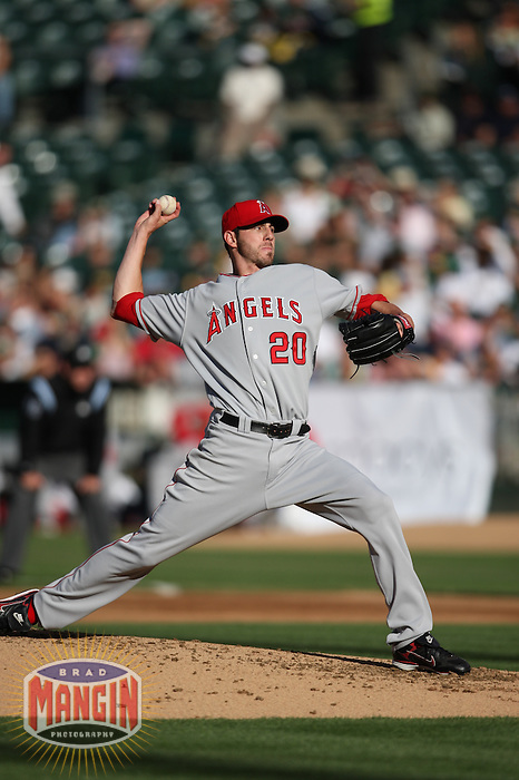 OAKLAND, CA - JUNE 7:  Jon Garland of the Los Angeles Angels of Anaheim pitches during the game against the Oakland Athletics at the McAfee Coliseum in Oakland, California on June 7, 2008.  The Angels defeated the Athletics 5-3.  Photo by Brad Mangin