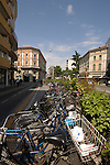 Bicycles parked in Italian city of Mestre, Italy.