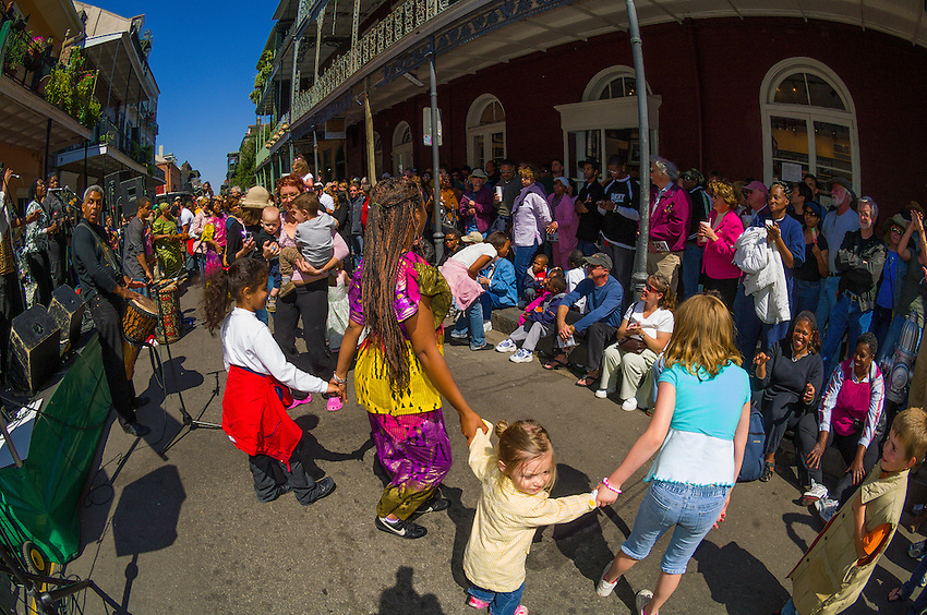 Bamboula 2000 performing on Royal Street, French Quarter Festival, French Quarter, New Orleans, Louisiana, USA
