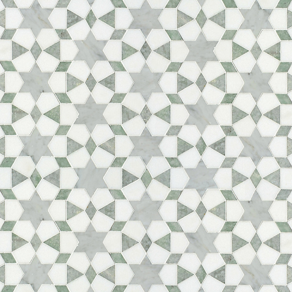 Medina, a waterjet stone mosaic, shown in polished Ming Green and Carrara and honed Thassos, is part of the Miraflores Collection by Paul Schatz for New Ravenna.<br /> <br /> For pricing samples and design help, click here: http://www.newravenna.com/showrooms/