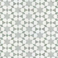 Medina, a natural stone waterjet mosaic shown in Ming Green, Carrara polished and Thassos honed marbles, is part of the Miraflores Collection by Paul Schatz for New Ravenna Mosaics.<br />