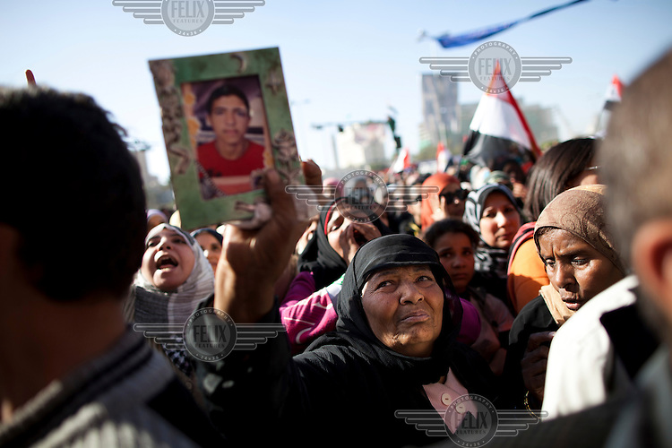 Female protestors in Tahrir Square demanding the immediate transfer of power from Egypt's military rulers, SCAF (Supreme Council of the Armed Forces), to a civilian government...